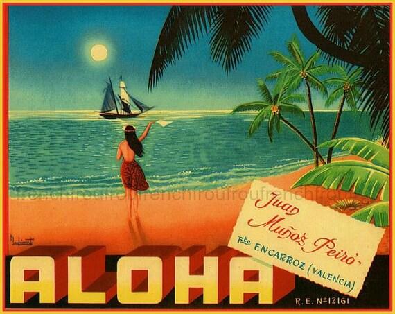 vintage hawaii poster aloha hula girl beach illustration