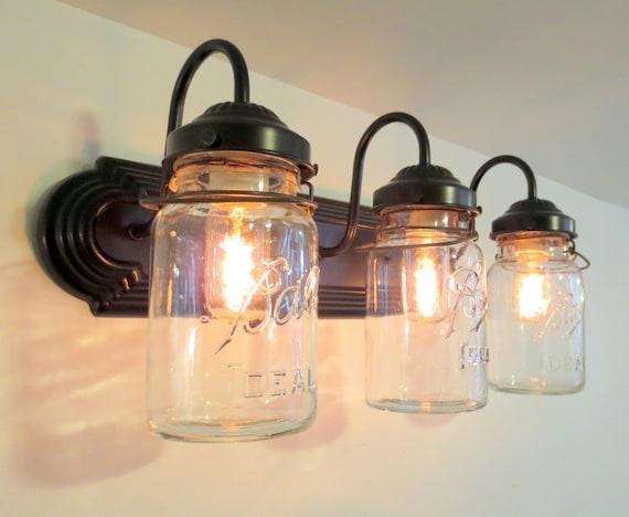 Mason Jar Wall Sconce Vintage Quart Trio Light Vanity Bathroom