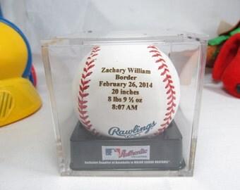 Engraved Baby Real MLB Baseball Announcement Personalized Keepsake Gift Nursery Decor New Born Acrylic Cube