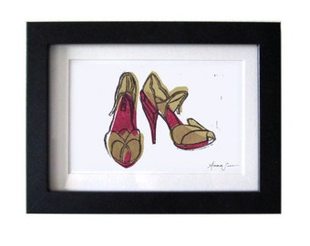 MIU MIU Shoes Original Loose Linocut Block Print 5 x 7