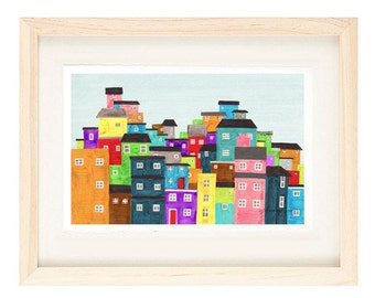 RIO DE JANEIRO, Brazil - 5 x 7 Colorful Illustration Art Print Of A Favela, Wall Decor, Green, Blue, South America