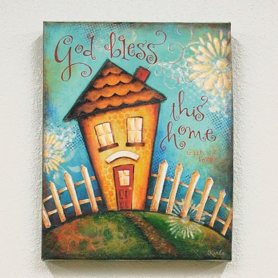 Glittered Personalized 11x14 Wrapped CANVAS GICLEE Bless This Home - House Blessing