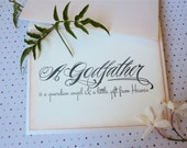 Will You Be My Godfather Card, For Godparent, Christening Notecard, Blank Inside