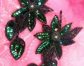 "XR51x Green Aurora Borealis Black AB Sequin Floral Mirror Pair Beaded Flower Appliques 6""  (XR51x-bkgrab)"