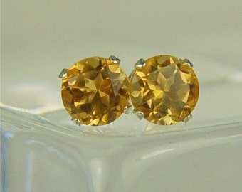 Citrine Earring Studs Sterling Silver 5mm Round .95ctw