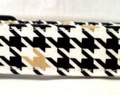 Nightfall Black White and Metallic Gold Houndstooth Dog Collar