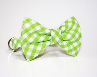 Gingham Bow Tie Dog Collar- Apple Green Gingham- Dog Collar