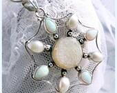 Opal-Druzy-Pearl Snowflake Sterling Silver Necklace  N9004