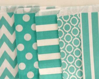 Paper Bags, 30 Aqua Assorted Favor Bags, Aqua Paper Bags, Wedding Favor Bags, Candy Favor Bags, Birthday Party Favor Bags, Paper Cookie Bags