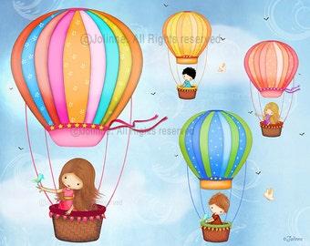 Hot air ballon kids Room Poster,children wall art,Kids room art, Art Decor, wall poster, art for childrens room, kids wall art, art for kids