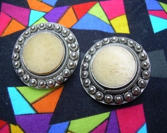 Vintage Silver tone and Bone  Etruscan style ethnic clip on earrings Earrings
