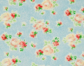 Mary Rose Fabric Collection by Quilt Gate SWEET CHARMS 15B Floral Flower Rose Buds on Light Blue
