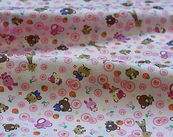 AllegroFabrics Destash Fabric Japanese OOP Kawaii Pink Bear Bunny Giraffe Baby oop htf one yard
