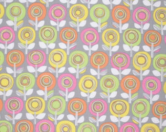 Palermo Fabric by Erin McMorris Adela GREEN Pink Circle Striped Stripes Floral Flowers on Gray Grey