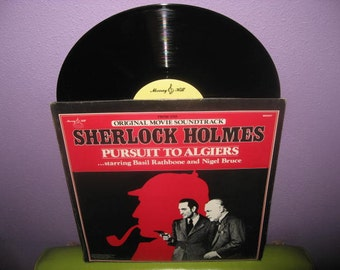 HOLIDAY SALE Vinyl Record Album Sherlock Holmes - Pursuit to Algiers Soundtrack LP 1945/1980 Basil Rathbone Classics