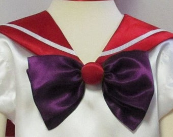 Sailor Mars Moon Scout Collar Cosplay Costume Anime Accessory Red Collar Purple Bow Fuku Child Size