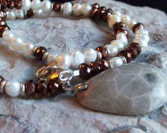 Handmade Petoskey Stone Necklace, Beach Stone Necklace, Sterling Silver, Freshwater Pearls, and Firepolish Czech Beads