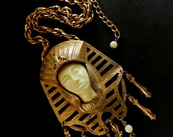 Magnificent Necklace 1930 - Revival Pharaoh Pendant Necklace-Antique ArtNouveau Jewel  ivory color Pharaoh--Art.849/2 -