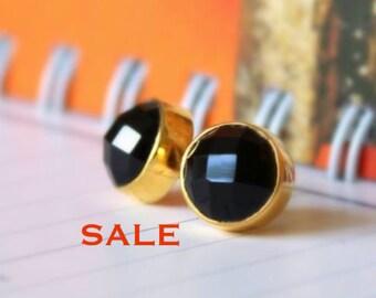 Black Onyx Bezel Set Stud Post Earrings.....LIMITED EDITION