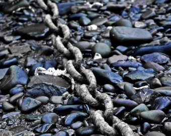 Heavy Mooring Chain On Stone Harbour Bed - English Fishing Village Fine Art Photograph - Gallery Quality Interior Design In Various Sizes