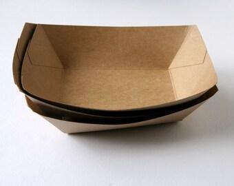 100 Kraft Paper Food Trays / Kraft Food Boats - BULK - Birthday Parties, Weddings, Picnics