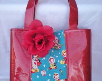 Ruby Red Metallic and Retro Rocket Rascals Tote (Tote does not come with flower)