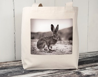 Vintage Jack Rabbit - Vintage Photograph from 1920's - Carryall Tote - School Bag - Canvas Bag - Perfect Easter Basket
