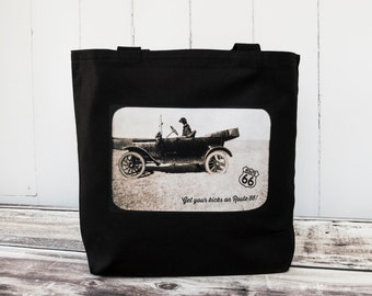 Get Your Kicks on Route 66 - Driving Labrador Retriever -- Vintage Photograph - Carryall Tote  - Road Trip