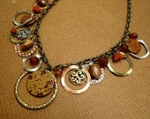 Bohemian  Vintage Gypsy Recycled Beaded Discs Brass Rings Necklace