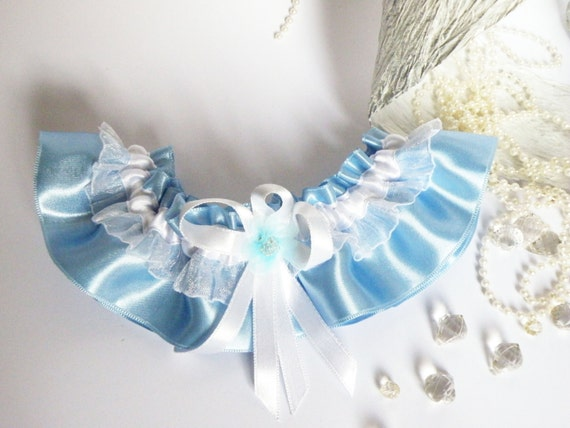 Wedding Bridal Garter with Lace Embellishment Light blue and white color