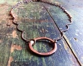 Hold for Elizabeth- Hammered Copper Hoop Necklace