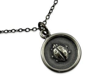 Lady Bug Necklace - Simple Silver Lady Bug Pendant  Charm Tiny Charm