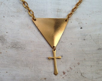 Solid Brass Triangle Pendant cross Charm Necklace Gold