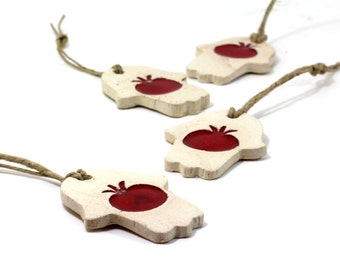 Rosh Hashanah gift Ceramic Hamsa decoration - Beautiful handmade stone look Hamsah with red pomegranate for Good Luck Rosh Hashanah gift