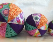 Fabric balls for baby or toddler. Set of three.