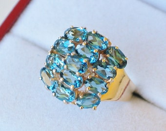 Gemstone ring topaz ring band size 7 10k yellow gold London blue cluster dome style cocktail statement womens fine jewelry
