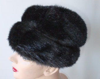 Vintage Hat Black Faux Fur with Brown Accent Winter Cold Weather