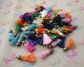 100pcs assorted color Silk/Satin Leather Tassels with Bronze Color Cap, DIY Cell Phone or Available Earring Pendant Findings