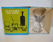 Vintage Anchor Hocking Cocktails for Four Set -- Presidential Political American Eagle and Stars Design -- Glasses with Cocktail Shaker