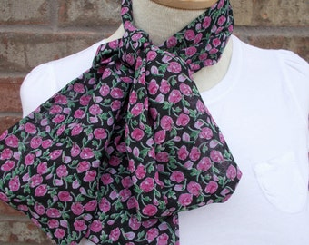 Black Scarf with Pink Rose Buds Spring Scarf Infinity Scarf Head Scarf Head Wrap Light Weight Scarf Floral Scarf Circle Scarf  Summer Scarf
