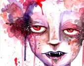 The Prettiest Vampire:  Original Watercolor Painting