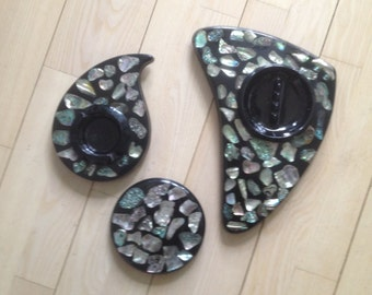 1960s black acrylic abalone ashtrays and trivet