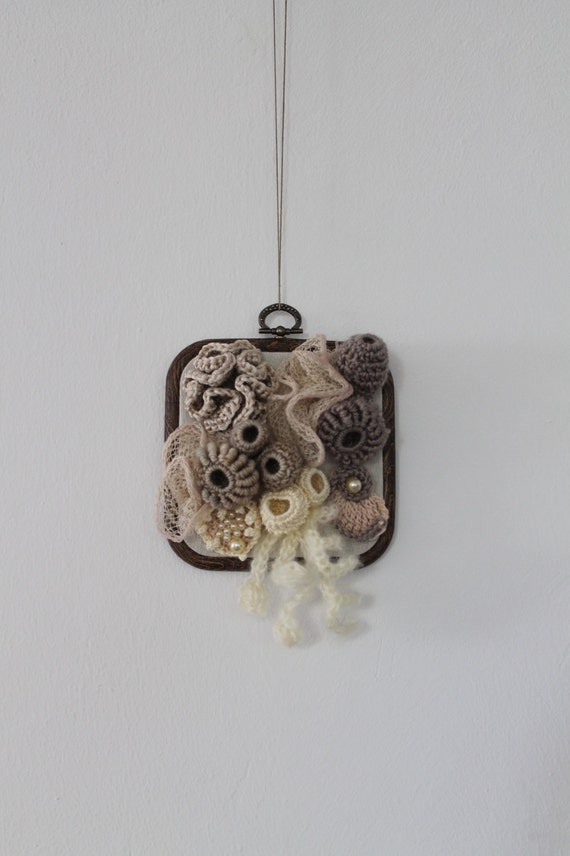 Coral Reef / Freeform Crochet Wall Hanging / Sculpture by levintovich