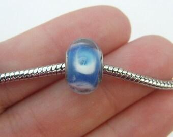 5 Blue European charms bracelet bead 14 x 10mm B79