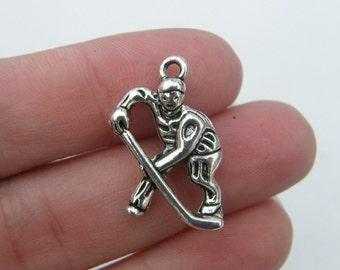 BULK 20 Hockey player pendants antique silver tone SP76