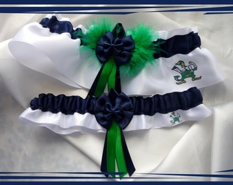 White Satin Double Bow Wedding Garter Set Made with Notre Dame Designs GB