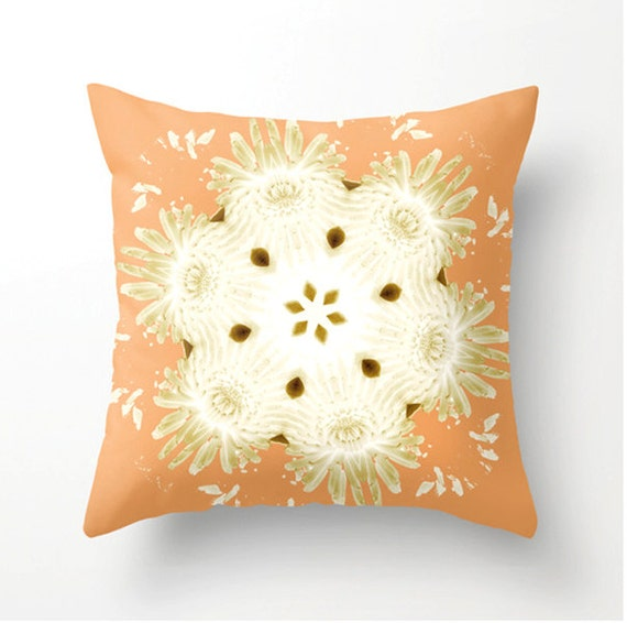 Peach Decorative Throw Pillows : Items similar to PEACH DAISIES decorative throw pillow, scatter cushion, abstract daisies print ...