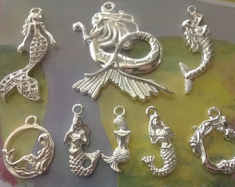 8pcs Mermaid themed charms - pendant - mix - collection - all bright silver plated sea - beach - nautical - Marine -
