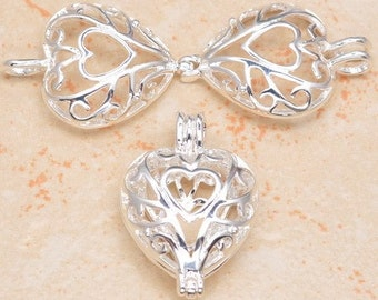 Silver plated - Heart in heart - heart locket - pendant