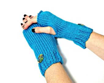 Valentines Day, Fingerless Gloves, Hand Knit Gloves, Texting Gloves,  Knit Gloves, Hand Warmers, Turquoise Gloves, Fiber Art, Womens Gloves